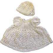 White Knitted Dress & Bonnet for small or all bisque Doll