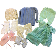 Lot of Knitted Doll outfits Bonnet, Booties, Dress, Jumper, Leggings