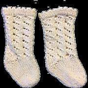 Pair Cream Hand Knitted Doll Socks