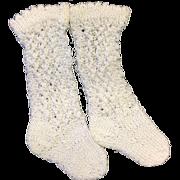 Pair White Knitted Doll Socks