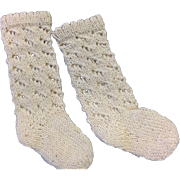 Deep Cream Pair of Knitted Doll Socks