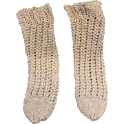 Creamy Coffee Coloured  Knitted Wool Doll Socks