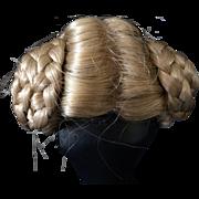 """Vintage Rams Horn Blonde Doll Wig 8"""" - 9"""""""
