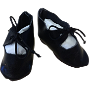 Vintage Artist Made Black Leather Doll Shoes