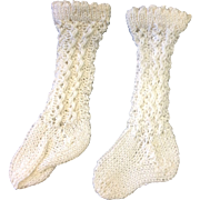 Lovely Pair of White Cotton Doll Socks