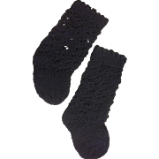 Large Pair Black Cotton Knitted Socks
