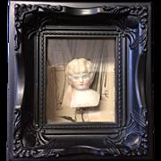 Framed Shadow Box with Antique Parian Doll Head