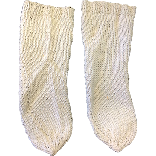 Cream Cotton Knitted Doll Socks