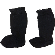 Fine Knitted Black Doll Socks