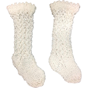 Pair of white cotton knitted Doll Socks