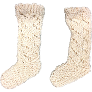 Pair of Cream cotton knitted doll socks