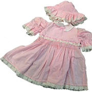 Pink Voile Smocked Dress & Hat