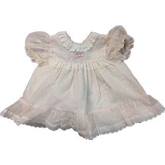 Beautiful Pink Cotton Doll Dress with Embroidery