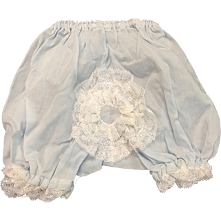 Cute Pale Blue Cotton Doll's Pants with Ruffled Lace