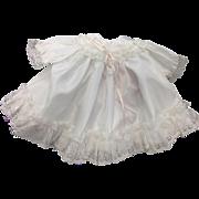White Taffeta Dress with Gathered lace & Pale Pink Satin Ribbon