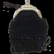 Beautiful Handmade Crochet & Beaded Black Dolls Purse