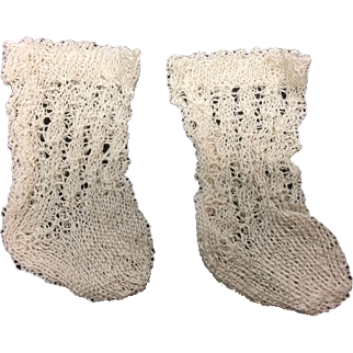 Beautiful Fine Cream Knitted Cotton Socks