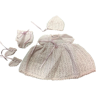Lilac Fine Wool Knitted Dress, Bonnet, Pants & Booties