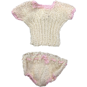Cream & Pale Pink Knitted Underwear for Small Doll or All Bisque