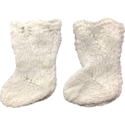 Small Pair White Wool Doll Socks