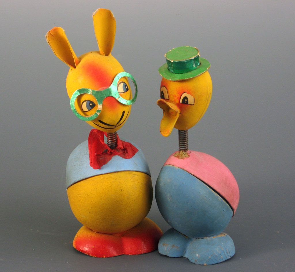 Rabbit Chick Easter Nodder Figural Candy Containers ~2~Germany