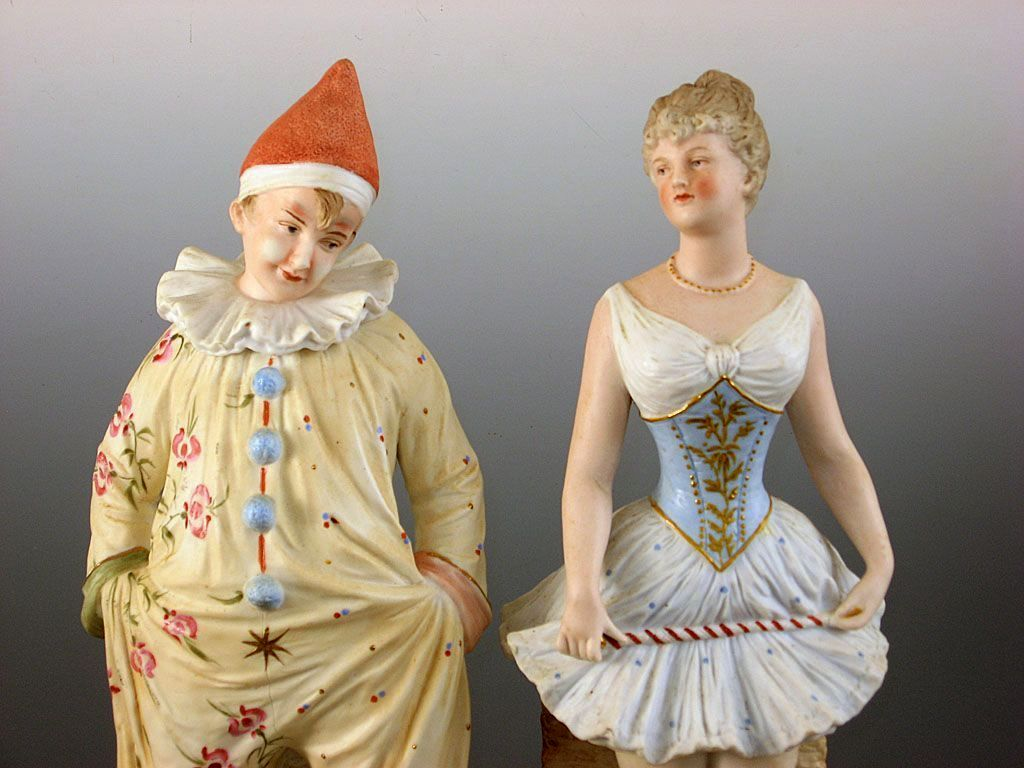 Heubach Acrobat and Clown figurines ~ Charming Circus Costumes ~ Unusual Pair ~