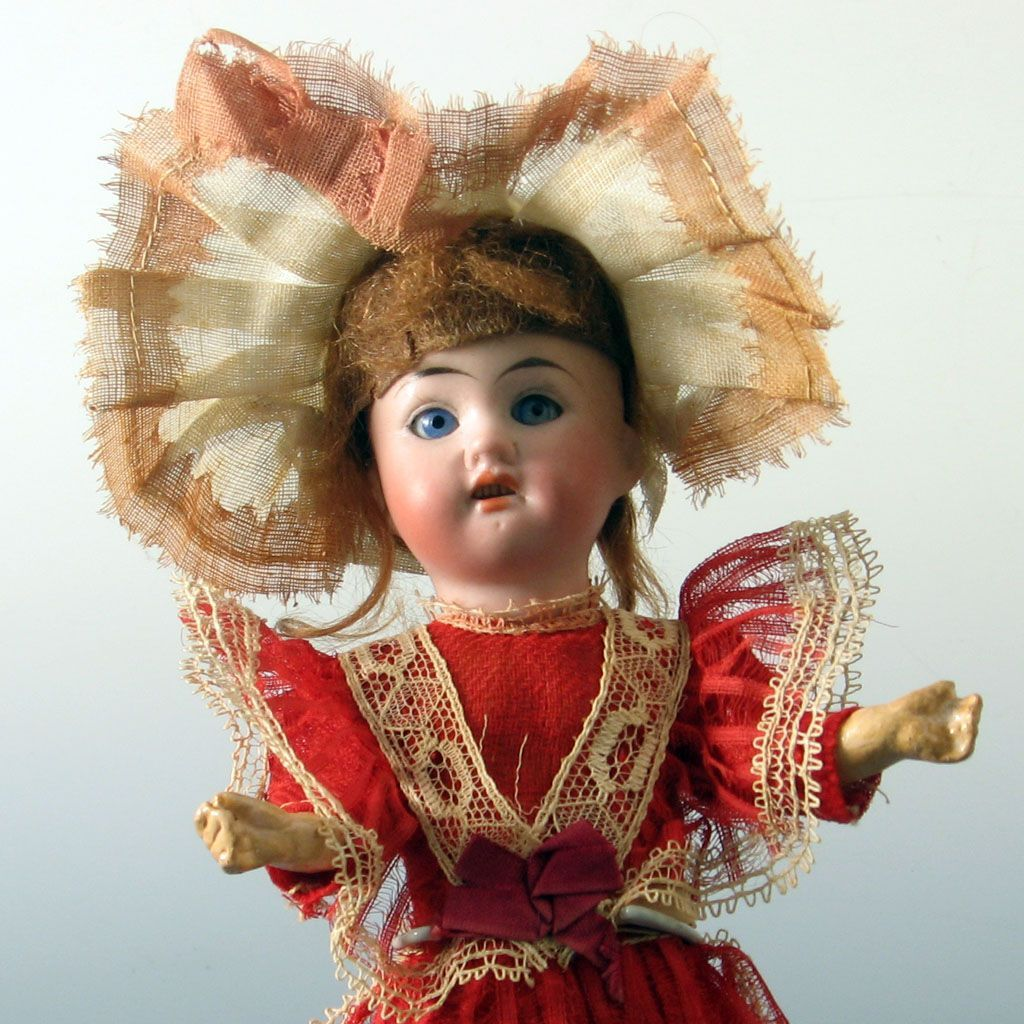 "All Original ~ Antique Bisque head Doll  9 "" German ~ Great dress"