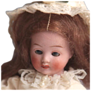 """All bisque~Hertwig ~Doll~ 5""""~~Downward Gazing Girl~"""