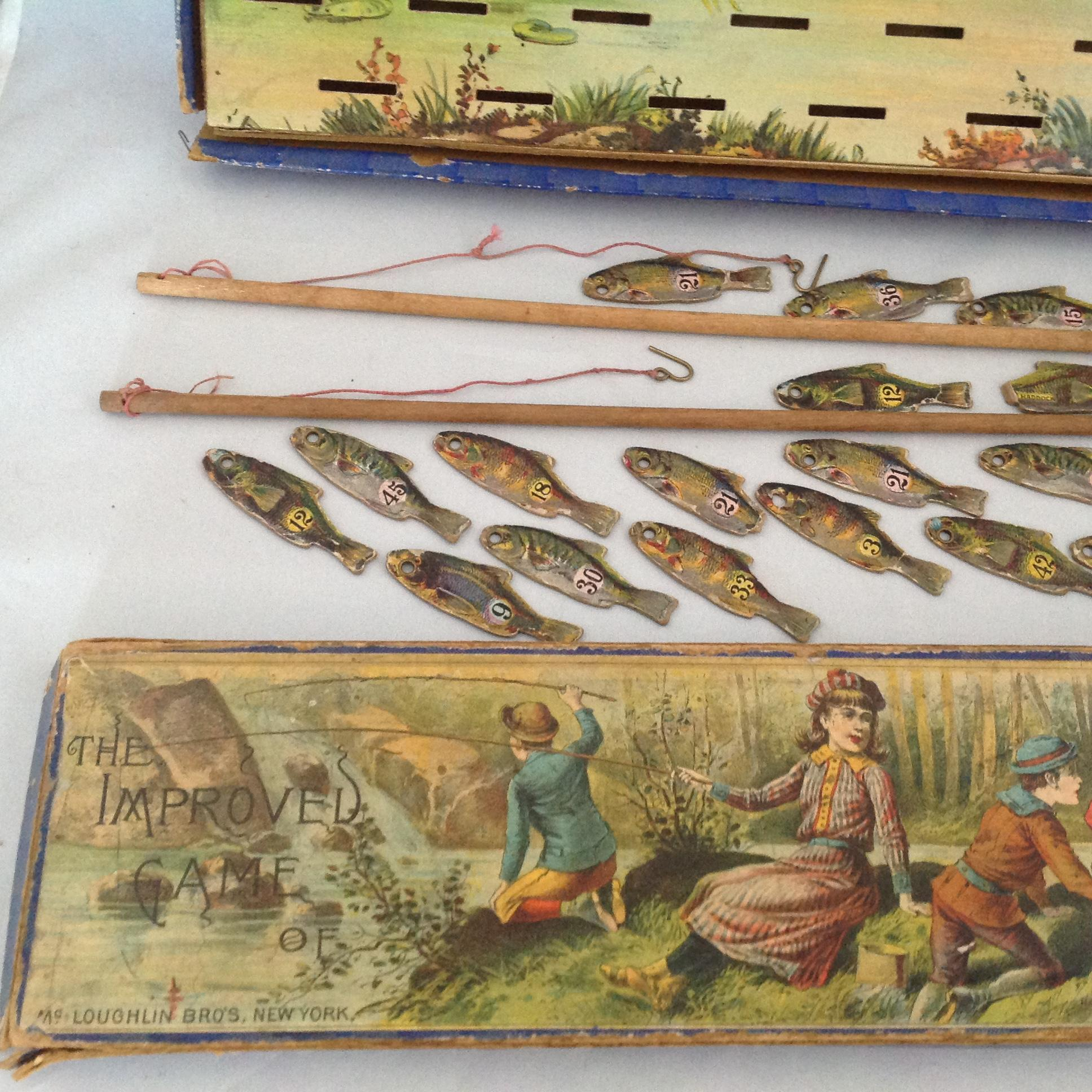 Mcloughlin bros improved fish pond game dated 1890 from for Fish pond game