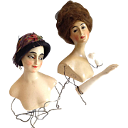 Early Art Deco Wax Half Dolls ~Germany