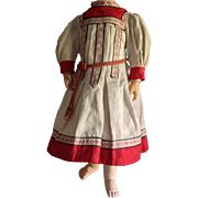 "Antique doll Character Dress Cotton Ethnic   12"" length"