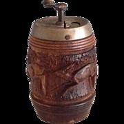 Carved Antique Pepper Mill Grinder~ Deer in Pines ~ Black Forest ~ Folk Art