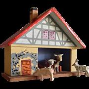 Erzgebirge Stable w 4 animals  ~ Putz Doll size Germany Folk art craft