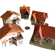 German Putz 5 Red Roof houses Snow Baby  Village