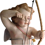 Large Cupid Antique bisque Swinger or oil lamp pull  ~