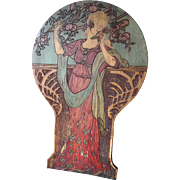 Mucha ~ Art Nouveau~ 1911 Chair  Signed x2 ~ Pyrography
