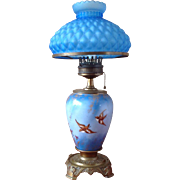 "BACCARACT signed ~French Glass Lamp 23"" Tall ~ with Birds of Happiness Hand Painted against blue sky"