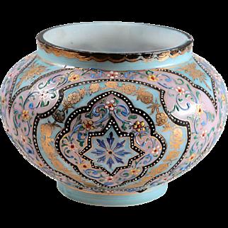 Enameled Persian Pattern Moser Art Glass Vase~