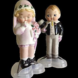"5 "" All Bisque Bride & Groom~ Grace Drayton~Darling!! ~Wedding Cake Topper"