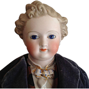 Dresden man~ Glass eyes Fine & fancy Parian Bisque 18""