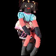 "30""  Black Googly Hippie Rag Doll`"