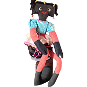 "30""  Black Googly Hippie Rag Doll`"