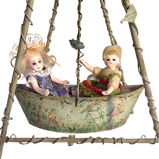 Tole Garden Swing~ Fancy Chinoiserie for Doll house or display
