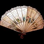 Raphael TUCK~ 1892~ Die cut  Floral CALENDAR Fan~