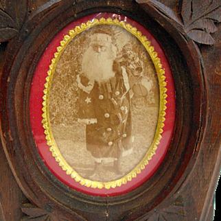 Real Santa Photo! ~Walnut~ Carved Wall Pocket~