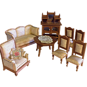Silk &  blond wood Doll House Salon Furniture~ German 1910