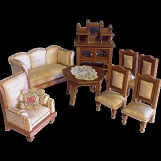 Silk &  blond wood Doll House Salon Furniture~ German 1910