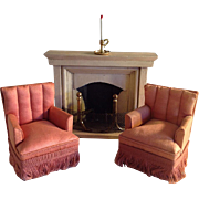 Antique Rose Silk Armchairs  & Fireplace~ Dollhouse miniature circa 1919