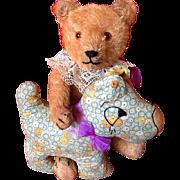 Vintage Teddy Bear & Pet dog~ Excelsior & orange mohair  & Calico