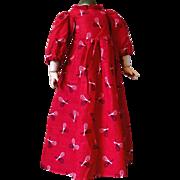 "Antique~ Red Cotton ""Racket print"" Doll dress~"